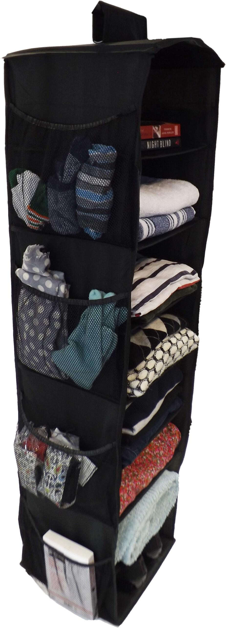 Hanging Wardrobe Organiser, Heavy Duty, 8 Shelves, 125x30x30cm, Black