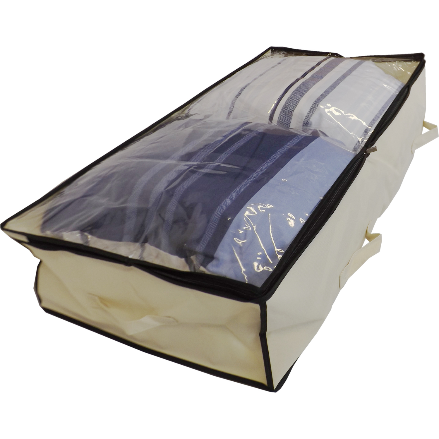 Large Underbed Storage Bag With Clear Top, Heavy Duty, 100 Litre Capacity, 100x50x20cm, Beige
