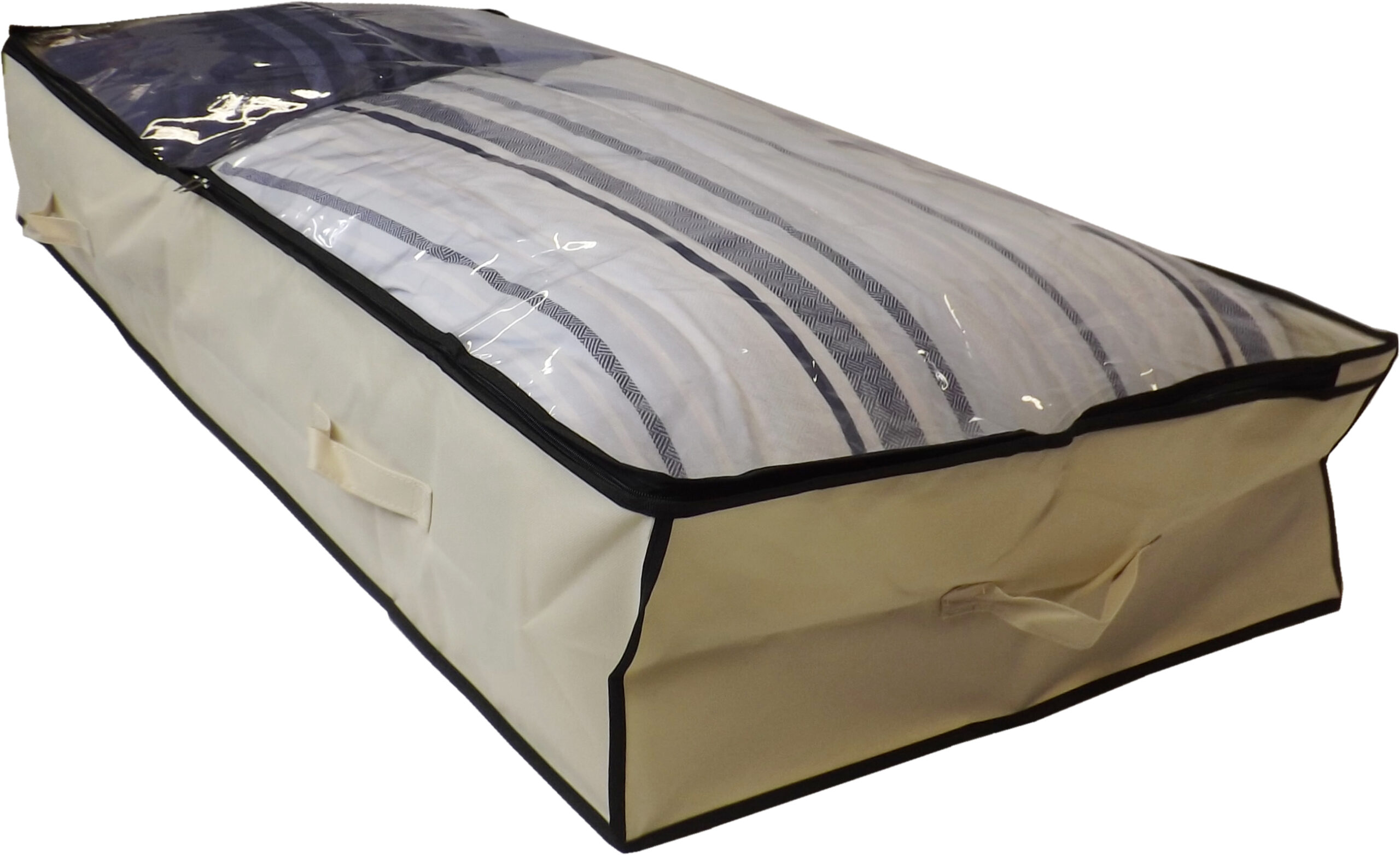 Extra Large Underbed Storage Bag With Clear Top, Heavy Duty, 150 Litre Capacity, 125x60x20cm, Beige