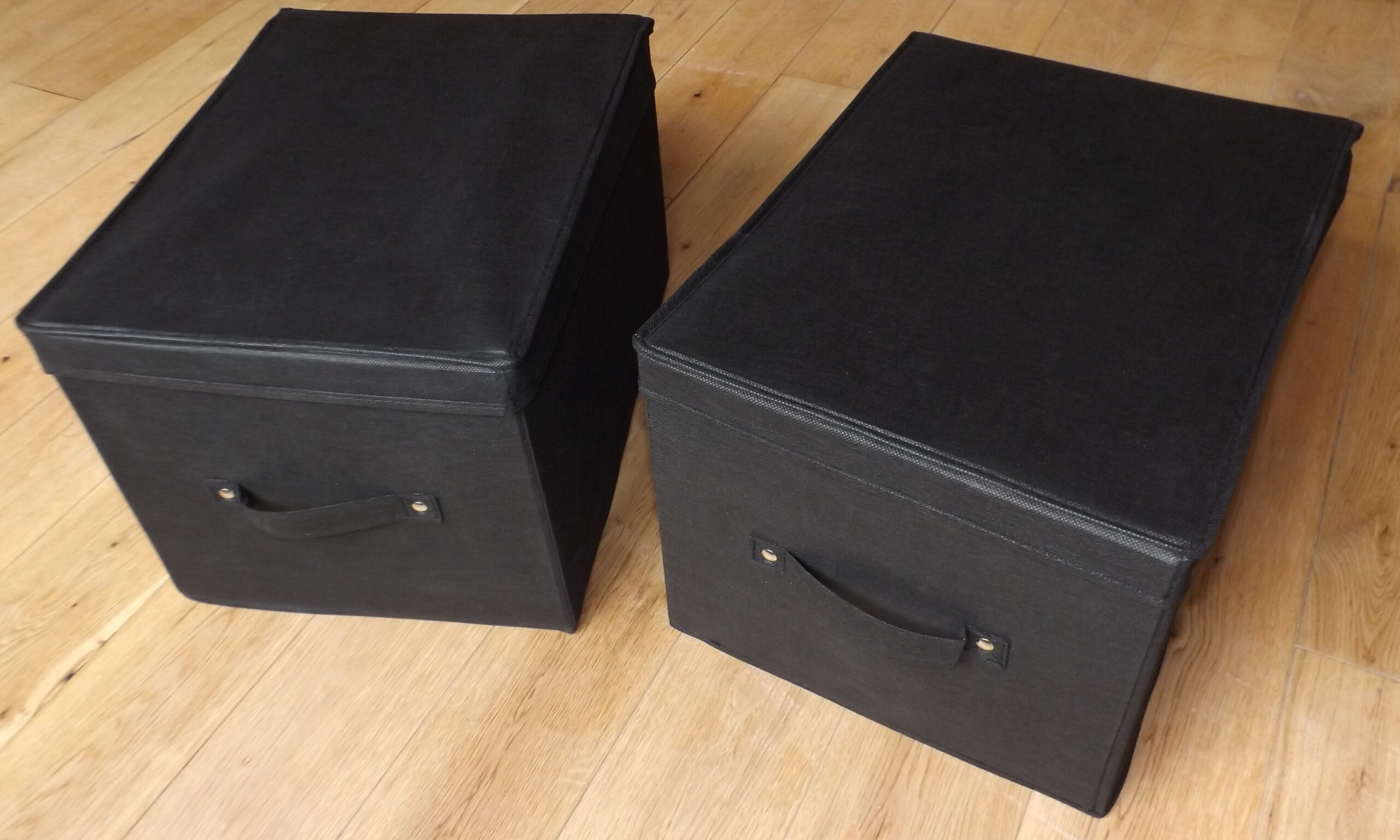 Medium Foldable Storage Boxes, Premium, Pack of 2 - 30 Litre Capacity Per Box, 40x30x25cm, Black