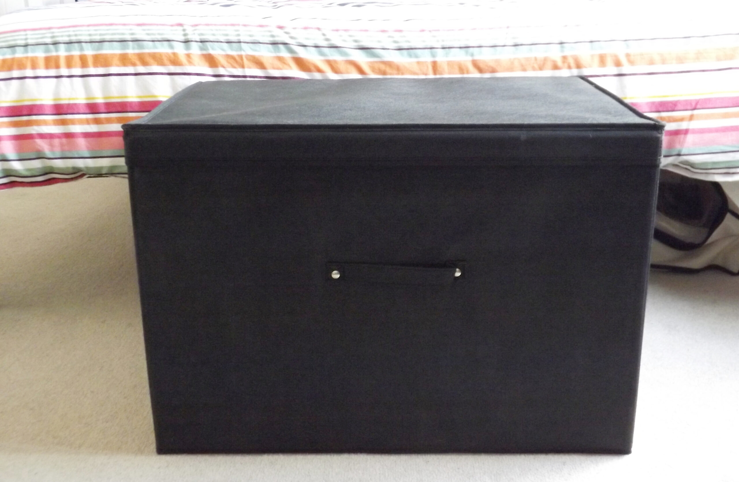 Super Jumbo Foldable Box With Lid, Heavy Duty, 100 Litre Capacity, 60x45x40cm, Black