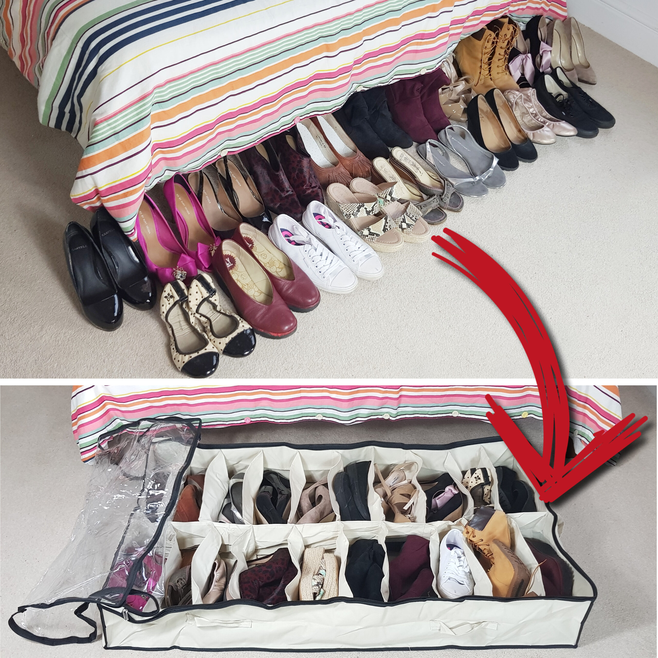 Extra Large Underbed Shoe Organiser With Clear Top, Heavy Duty, Up To 20 Pairs of Shoes, 120x72x18cm, Beige