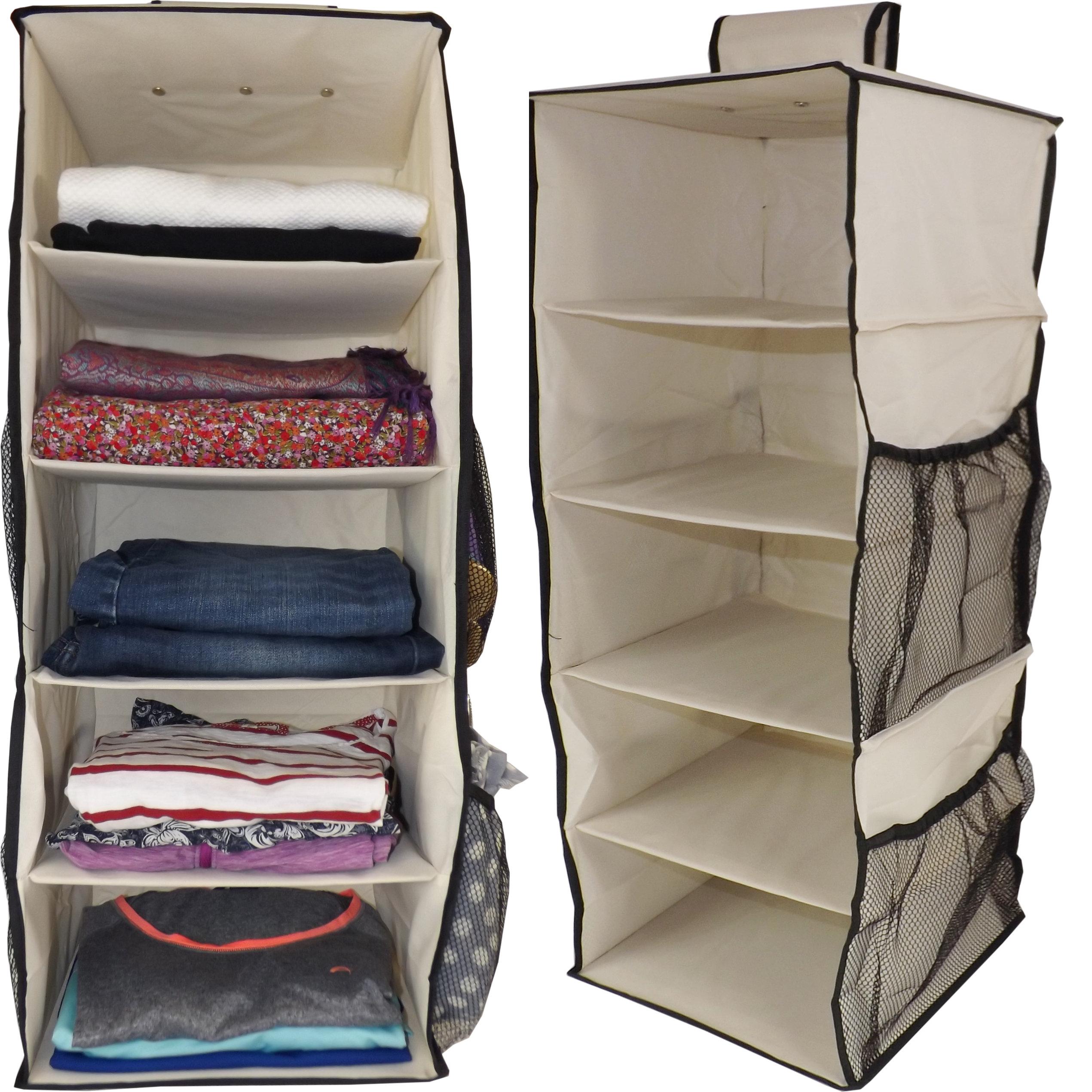 Hanging Wardrobe Organiser, Heavy Duty, 5 Shelves, 76x30x30cm, Beige