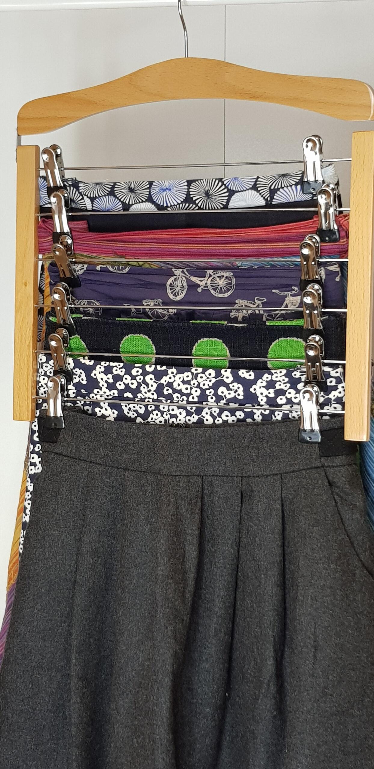 Space Saving Skirt Hanger, Heavy Duty, 6 Skirts Per Hanger, Beech Wood
