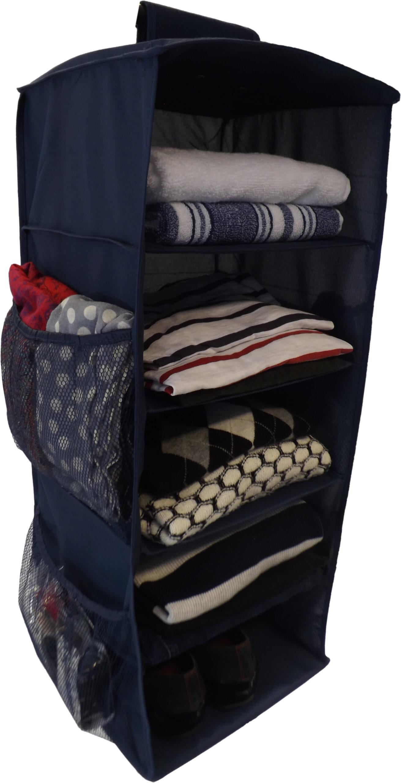 Hanging Wardrobe Organiser, Heavy Duty, 5 Shelves, 76x30x30cm, Blue