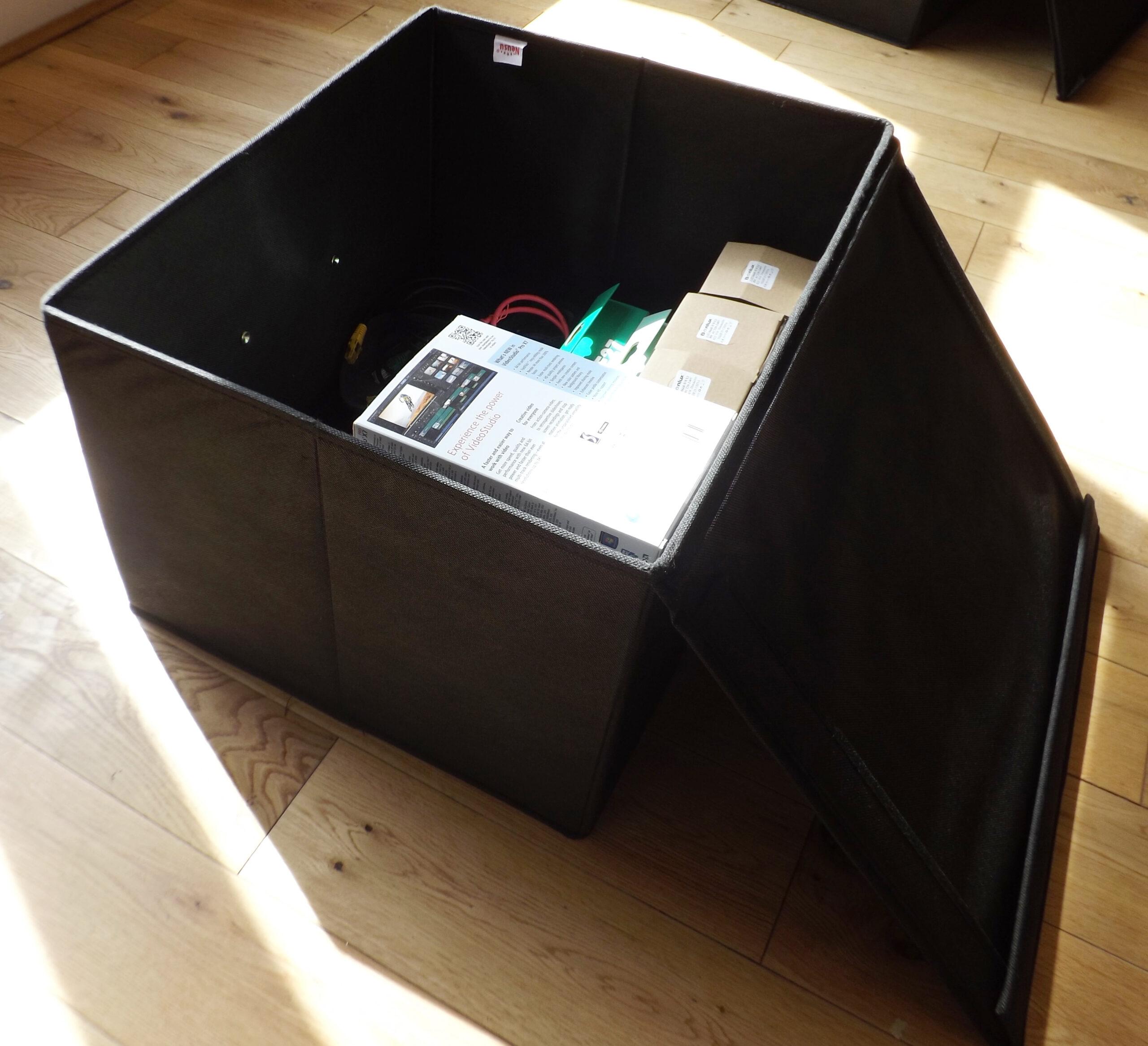 Jumbo Foldable Box With Lid, Heavy Duty, 60 Litre Capacity, 50x40x30cm, Black